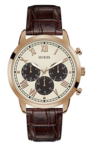 Stainless GW0067G3)腕時計 メンズ 腕時計 Quartz 【送料無料】GUESS GUESS ゲス Strap, Brown, with GUESS Steel (Model: Men's Leather Analog Crocodile ゲス メンズ 20 Watch