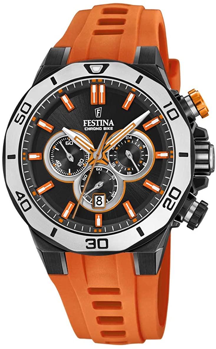 with Adult フェスティナ フェスティナ スイス フェスティーナ Watch F20450/2腕時計 Silicone スイス Chronograph メンズ Strap Quartz 腕時計 フェスティーナ メンズ Unisex 【送料無料】Festina