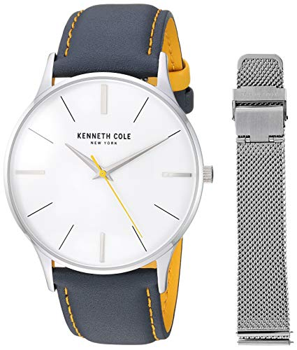 ケネスコール・ニューヨーク Kenneth Cole New York 腕時計 メンズ 【送料無料】Kenneth Cole New York Men's Gift Set Stainless Steel Japanese-Quartz Watch with Leather Strap, Multi, 20 (ケネスコール・ニューヨーク Kenneth Cole New York 腕時計 メンズ