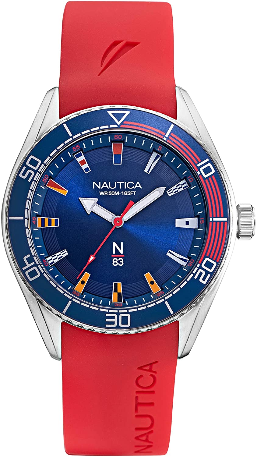 ノーティカ 腕時計 メンズ 【送料無料】Nautica Men's Finn World Brass Plated Stainless Steel Quartz Silicone Strap, Red, 22 Casual Watch (Model: NAPFWS011)ノーティカ 腕時計 メンズ