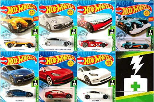 ホットウィール マテル ミニカー ホットウイール 【送料無料】Hot Wheels Complete HW Green Speed Bundle 7 Car Set Bundle Includes Tesla Model 3 Red and White Tesla Model S Kroger Exclusive Electro Silhoホットウィール マテル ミニカー ホットウイール