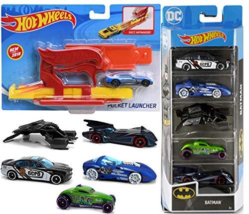 ホットウィール マテル ミニカー ホットウイール 【送料無料】Launch Batman DC Collection Blast Bundled with Pocket Launcher + Gotham City Police Car / Riddler & Mr. Freeze Villains / Batmobile 5-Pack Dホットウィール マテル ミニカー ホットウイール