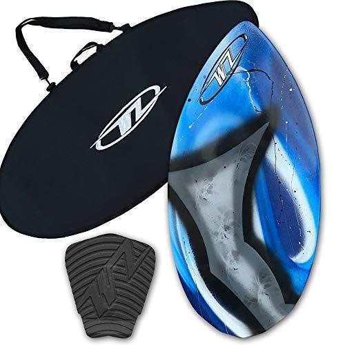 サーフィン スキムボード マリンスポーツ Wave Zone Diamond Skimboard Combo Package for Beginners & Kids up to 110 Lbs - Blue Skimboard, Board Bag & Traction Pad (Board and Bag with Black Traction)サーフィン スキムボード マリンスポーツ