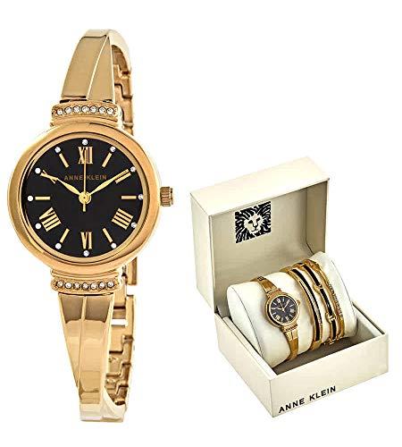 腕時計 アンクライン レディース 【送料無料】Anne Klein Black Glossy Dial Ladies Watch and Bracelet Set AK-3414BKST腕時計 アンクライン レディース