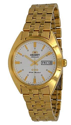 腕時計 オリエント メンズ 【送料無料】Orient RA-AB0E05S Men's 3 Star Gold Tone Stainless Steel Silver Dial Day Date Automatic Watch腕時計 オリエント メンズ