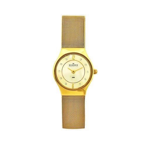 腕時計 スカーゲン レディース 【送料無料】Skagen Women's 233XSGGG2 Denmark Goldtone Mesh Gold Dial Watch腕時計 スカーゲン レディース