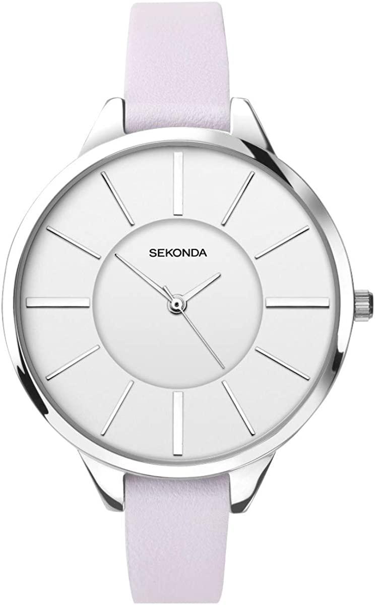 腕時計 セコンダ イギリス レディース 【送料無料】Sekonda Editions Ladies Watch with White Dial and Lilac Leather Strap 2975腕時計 セコンダ イギリス レディース