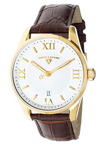 腕時計 スイスレジェンド メンズ 【送料無料】Swiss Legend Men's Belleza Analog Swiss Quartz Watch White Dial and Gold Stainless Steel Case with Brown Leather Strap 22012-YG-02-BRN腕時計 スイスレジェンド メンズ