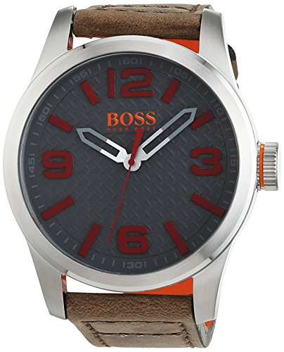 ヒューゴボス 高級腕時計 メンズ 1513351 BOSS Orange Men's Stainless Steel Quartz Watch with Leather Calfskin Strap, Beige, 24 (Model: 1513351)ヒューゴボス 高級腕時計 メンズ 1513351