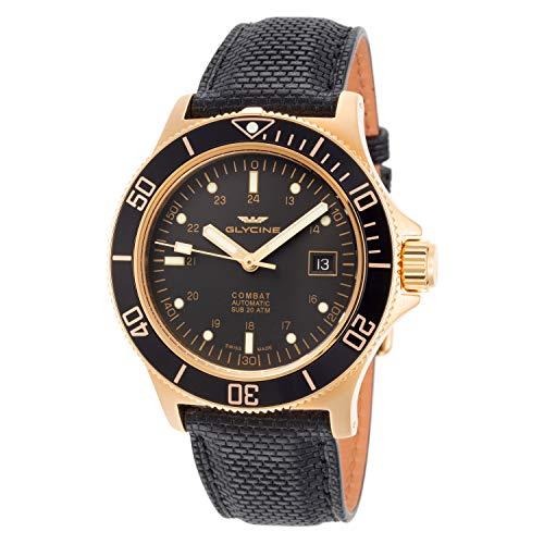 腕時計 グリシン スイスウォッチ メンズ グライシン 【送料無料】Glycine Men's Sub Combat 42mm Automatic Watch GL0186 Gold Color, Black Band腕時計 グリシン スイスウォッチ メンズ グライシン