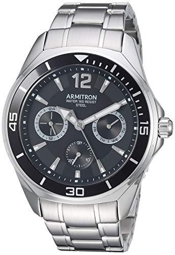 腕時計 アーミトロン メンズ 【送料無料】Armitron Men's 20/5297BKSV Multi-Function Silver-Tone Bracelet Watch腕時計 アーミトロン メンズ