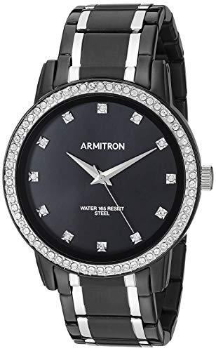 腕時計 アーミトロン メンズ 【送料無料】Armitron Men's 20/5328BKTB Swarovski Crystal Accented Silver-Tone and Black Bracelet Watch腕時計 アーミトロン メンズ