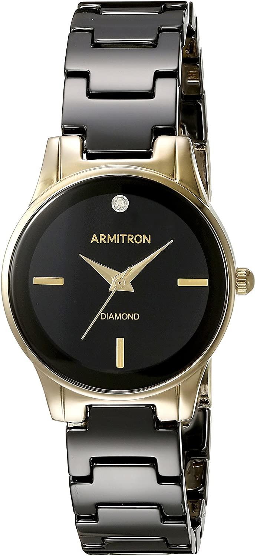 高品質の人気 腕時計 アーミトロン レディース 【送料無料】Armitron Women&39;s 75/5348BKGP Diamond-Accented Gold-Tone and Black Ceramic Bracelet Watch腕時計 アーミトロン レディース, 津幡町 74e3d83c