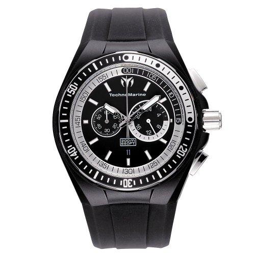 Black 腕時計 with and Chronograph テクノマリーン Quartz メンズ Silicone メンズ Dial Watch Strap Black テクノマリーン 【送料無料】Technomarine Men's Display 110018腕時計