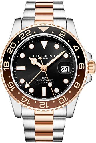 腕時計 ストゥーリングオリジナル メンズ 【送料無料】Stuhrling Original Mens Stainless Steel Triple Row Bracelet GMT Watch - Swiss Quartz, Dual Time, Quickset Date with Screw Down Crown, Water Resistant up t腕時計 ストゥーリングオリジナル メンズ