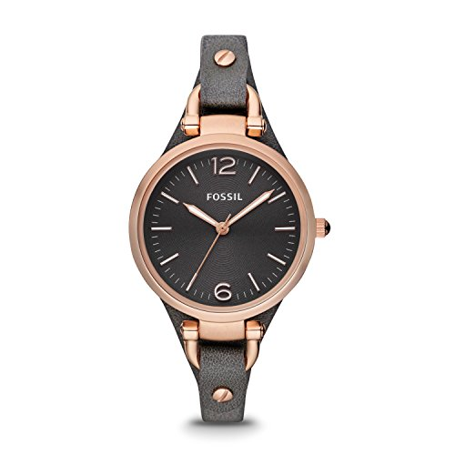 フォッシル 腕時計 レディース ES3077 Fossil Women's Georgia Stainless Steel Analog-Quartz Leather Calfskin Strap, Grey, 8 Casual Watch (Model: ES3077)フォッシル 腕時計 レディース ES3077