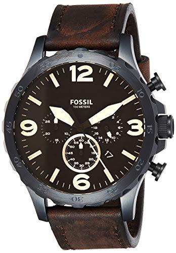 フォッシル 腕時計 メンズ JR1487 【送料無料】Fossil Men's Nate Quartz Stainless Steel and Leather Chronograph Watch, Color: Black, Brown (Model: JR1487)フォッシル 腕時計 メンズ JR1487