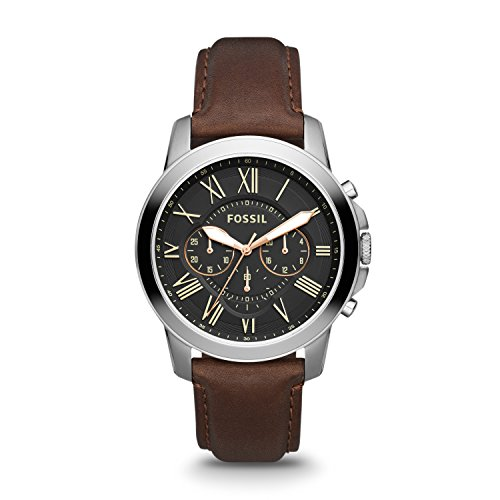 フォッシル 腕時計 メンズ FS4813 【送料無料】Fossil Men's Grant Stainless Steel Analog-Quartz Watch with Leather Strap, Rose Accents, 22 (Model: FS4813IE)フォッシル 腕時計 メンズ FS4813