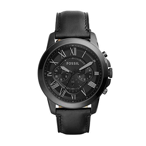 フォッシル 腕時計 メンズ FS5132 Fossil Men's Grant Quartz Stainless Steel and Leather Chronograph Watch, Color: Black (Model: FS5132)フォッシル 腕時計 メンズ FS5132