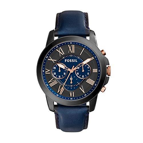 フォッシル 腕時計 メンズ FS5061 Fossil Men's Grant Quartz Stainless Steel and Leather Chronograph Watch, Color: Black, Navy (Model: FS5061IE)フォッシル 腕時計 メンズ FS5061