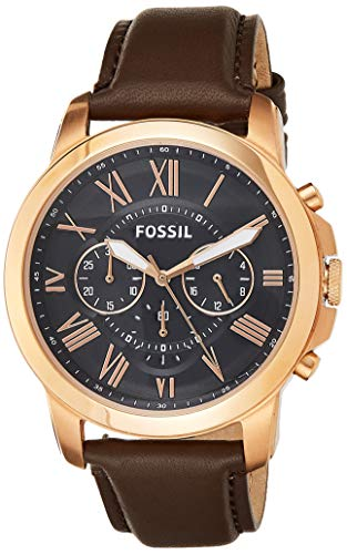 腕時計 フォッシル メンズ FS5068 【送料無料】Fossil Men's Grant Quartz Stainless Steel and Leather Chronograph Watch, Color: Rose Gold, Brown (Model: FS5068IE)腕時計 フォッシル メンズ FS5068