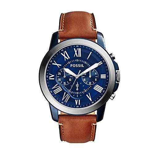 腕時計 フォッシル メンズ FS5151 【送料無料】Fossil Men's Grant Stainless Steel Quartz Watch with Leather Calfskin Strap, Silver/Blue IP, 22 (Model: FS5151)腕時計 フォッシル メンズ FS5151