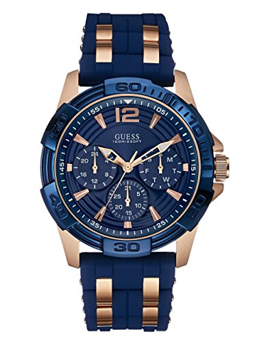 ゲス GUESS 腕時計 メンズ U0366G4 【送料無料】GUESS Comfortable Blue Stain Resistant Silicone + Rose Gold-Tone Stainless Steel Watch with Day, Date + 24 Hour Military/Int'l Time. Color: Blue (Model: U0366G2)ゲス GUESS 腕時計 メンズ U0366G4