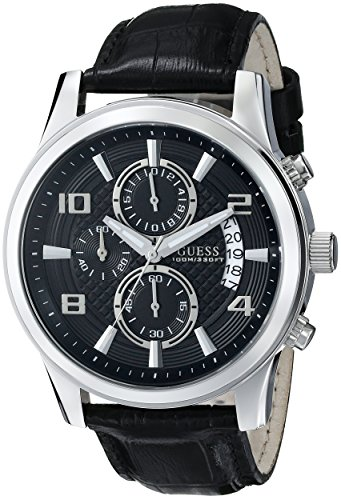 ゲス GUESS 腕時計 メンズ U0076G1 【送料無料】GUESS Men's U0076G1 Black Classic Crocodile-Grained Leather Strap Chronograph Watchゲス GUESS 腕時計 メンズ U0076G1