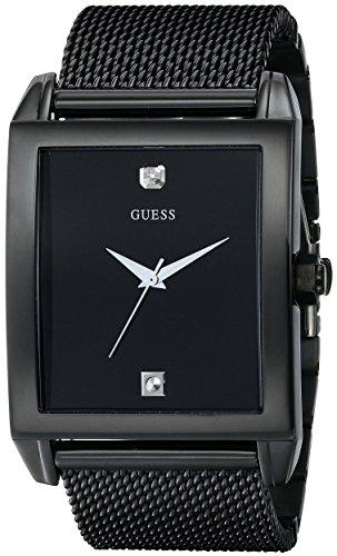 ゲス GUESS 腕時計 メンズ U0298G1 【送料無料】GUESS Mesh Black Ionic Plated Rectangular Genuine Diamond Watch. Color: Black (Model: U0298G1)ゲス GUESS 腕時計 メンズ U0298G1