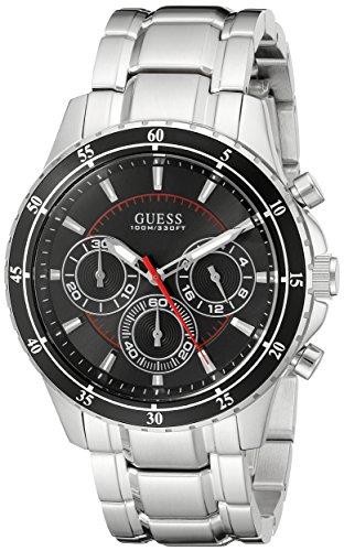 ゲス GUESS 腕時計 メンズ U0676G1 GUESS Men's U0676G1 Silver-Tone Chronograph Watch with Black Dialゲス GUESS 腕時計 メンズ U0676G1