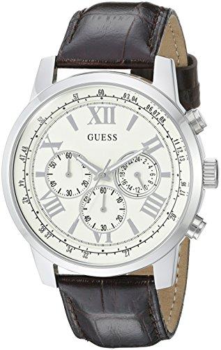 ゲス GUESS 腕時計 メンズ U0380G2 【送料無料】GUESS Men's U0380G2 Dressy Stainless Steel Multi-Function Watch with Chronograph Dial and Genuine Leather Strap Buckleゲス GUESS 腕時計 メンズ U0380G2