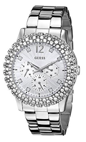 ゲス GUESS 腕時計 レディース U0335L1 【送料無料】GUESS Women's U0335L1 Silver-Tone Multi-Function Watch with Genuine Crystal Accentsゲス GUESS 腕時計 レディース U0335L1