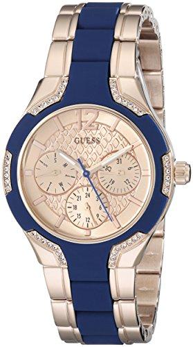ゲス GUESS 腕時計 レディース U0556L5 GUESS Women's U0556L5 Sporty Rose Gold-Tone Watch with Crystal-Accented Bezel and Blue Center Link Pilot Buckleゲス GUESS 腕時計 レディース U0556L5