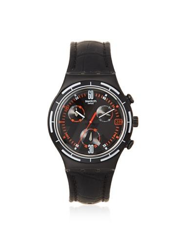 スウォッチ 腕時計 メンズ YCB4023 Swatch Men's YCB4023 Black Leather Watchスウォッチ 腕時計 メンズ YCB4023