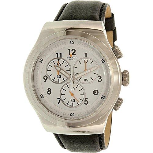 スウォッチ 腕時計 メンズ YOS451 【送料無料】Swatch Men's L'Imposante Stainless Steel Quartz Watch with Leather Calfskin Strap, Black, 23 (Model: YOS451)スウォッチ 腕時計 メンズ YOS451