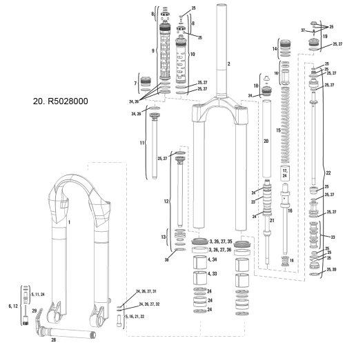 フォーク パーツ 自転車 コンポーネント サイクリング R5028000 RockShox Air tube, 07-09 Argyle (SoloAir)フォーク パーツ 自転車 コンポーネント サイクリング R5028000