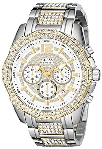 ゲス GUESS 腕時計 メンズ U0291G4 【送料無料】GUESS Men's U0291G4 Sporty Silver-Tone & Gold-Tone Stainless Steel Watch with Chronograph Dial and Deployment Buckleゲス GUESS 腕時計 メンズ U0291G4