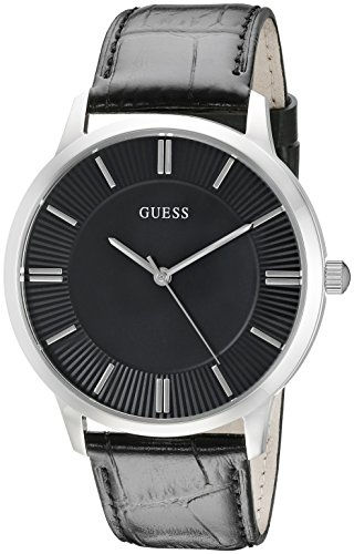 ゲス GUESS 腕時計 メンズ U0664G1 【送料無料】GUESS Black Genuine Leather Dress Watch with Stainless Steel Case. Color: Black (Model: U0664G1)ゲス GUESS 腕時計 メンズ U0664G1