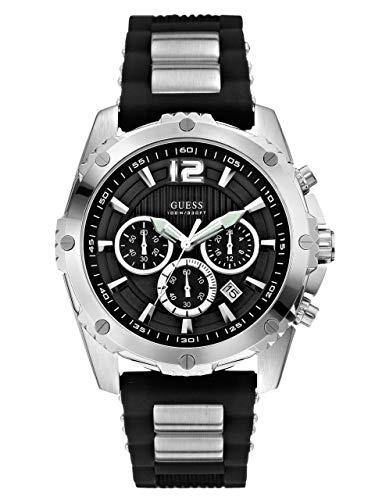 ゲス GUESS 腕時計 メンズ U0167G1 【送料無料】GUESS Men's U0167G1 Sporty Silicone & Metal Silver-Tone Chronograph Watchゲス GUESS 腕時計 メンズ U0167G1