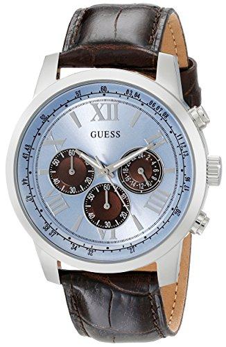 ゲス GUESS 腕時計 メンズ U0380G6 【送料無料】GUESS Brown Genuine Leather Stainless Steel Chronograph Watch with Ice Blue Dial. Color: Brown/Ice Blue (Model: U0380G6)ゲス GUESS 腕時計 メンズ U0380G6