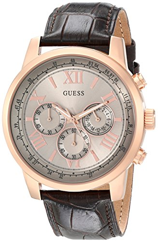 ゲス GUESS 腕時計 メンズ U0380G4 GUESS Men's U0380G4 Chronograph Brown Watch with Rose Gold-Tone Case & Genuine Leatherゲス GUESS 腕時計 メンズ U0380G4