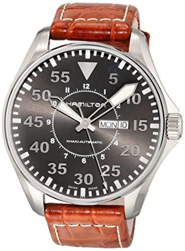 ハミルトン 腕時計 メンズ H64715885 【送料無料】Hamilton Men's H64715885 Khaki Pilot Automatic Stainless Steel Watch with Brown Croco-Embossed Watchハミルトン 腕時計 メンズ H64715885