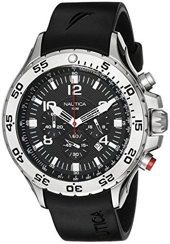 腕時計 ノーティカ メンズ N14536G 【送料無料】Nautica Men's N14536 NST Stainless Steel Watch with Black Resin Band腕時計 ノーティカ メンズ N14536G