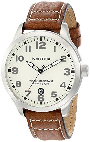 ノーティカ 腕時計 メンズ N09560G 【送料無料】Nautica Men's N09560G BFD 101 Stainless Steel Watch with Brown Leather Bandノーティカ 腕時計 メンズ N09560G