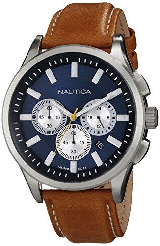 ノーティカ 腕時計 メンズ N16695G 【送料無料】Nautica Men's N16695G NCT 17 Brushed Stainless Steel Watch with Brown Bandノーティカ 腕時計 メンズ N16695G