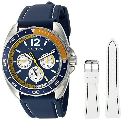 ノーティカ 腕時計 メンズ N09915G Nautica Men's N09915G Sport Ring Multifunction Stainless Steel Watch With Two Interchangable Resin Bandsノーティカ 腕時計 メンズ N09915G