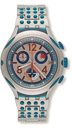 スウォッチ 腕時計 レディース YYS4007AG Swatch 16 Dots Chronograph Grey and Blue Dial Aluminium Unisex Watch YYS4007AGスウォッチ 腕時計 レディース YYS4007AG