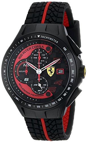 """フェラーリ 腕時計 メンズ 0830077 【送料無料】Ferrari Men""""s 0830077 Race Day Chronograph Black Rubber Strap Watchフェラーリ 腕時計 メンズ 0830077"""