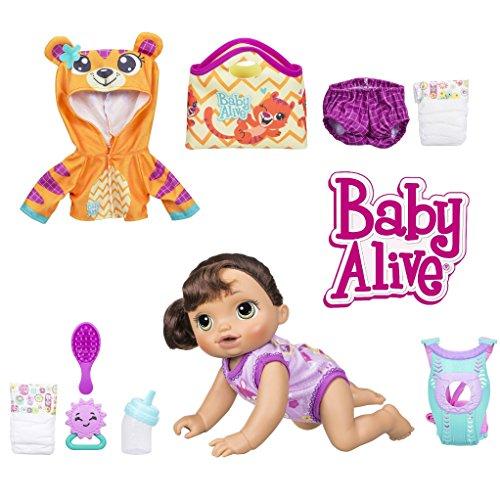 ベビーアライブ 赤ちゃん おままごと ベビー人形 Baby Alive Baby Go Bye Bye Brunette Doll with Bonus Tiger Hoodie Outfit & Accessoriesベビーアライブ 赤ちゃん おままごと ベビー人形