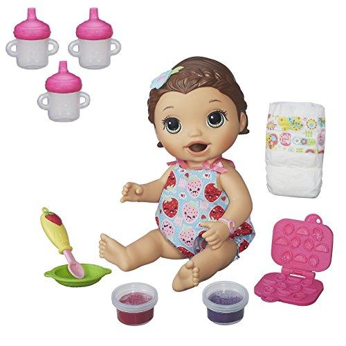 ベビーアライブ 赤ちゃん おままごと ベビー人形 Baby Alive Super Snacks Snackin' Lily (Brunette) with Bonus Baby Alive 3-Pack Sippy Cup Refillベビーアライブ 赤ちゃん おままごと ベビー人形